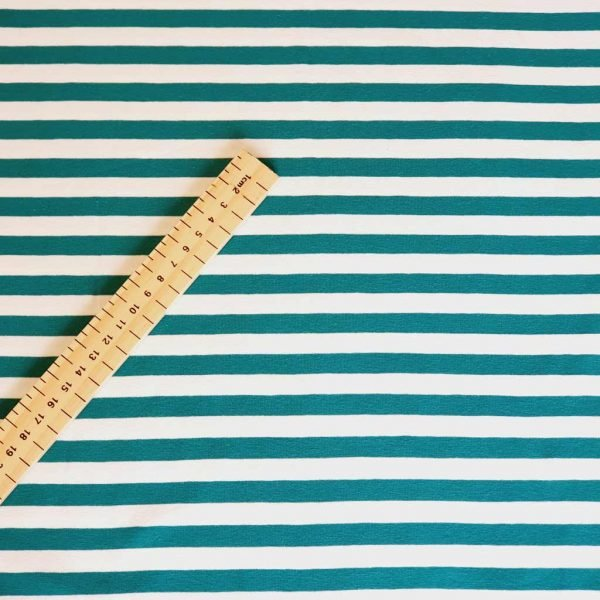 Sea green and white striped jersey fabric