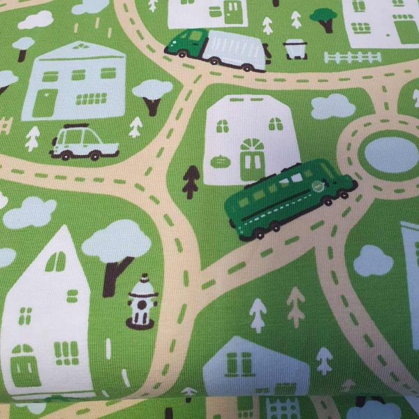 Green road map jersey fabric