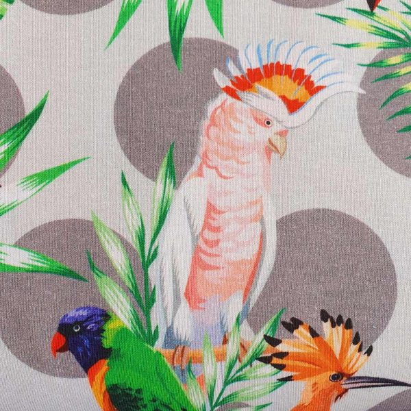Grey spots birds cotton jersey fabric