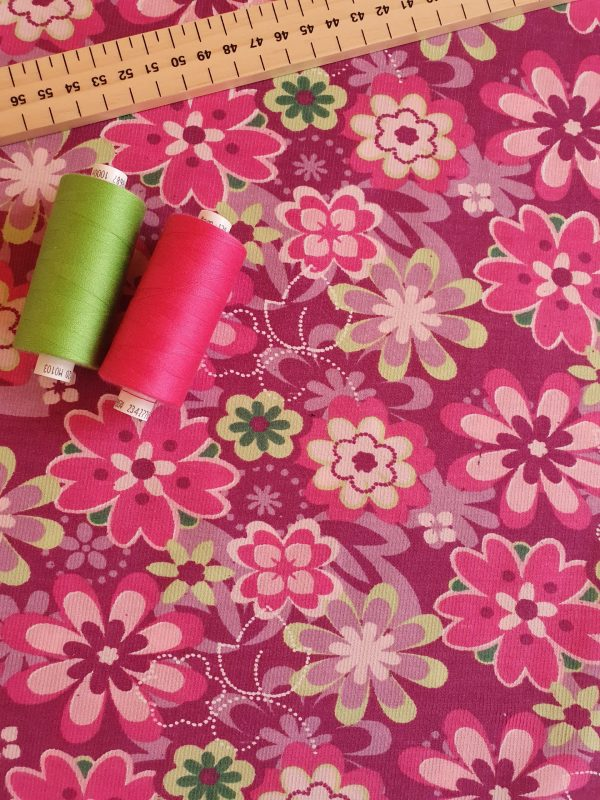 Scandi style floral corduroy fabric with threads