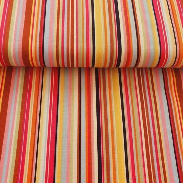 Multi-coloured stripe cotton fabric