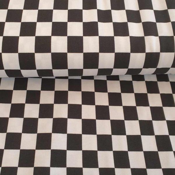Black and white squares jersey fabric