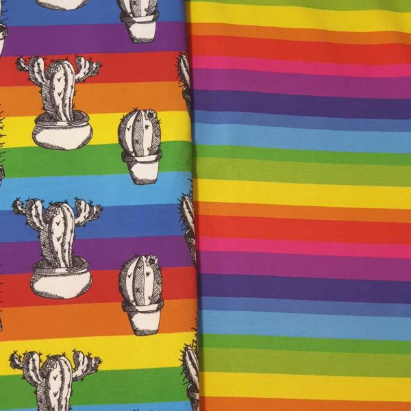 Rainbow Cactus Pattern Collection – Organic Jersey