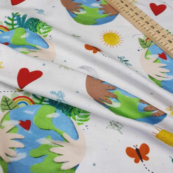 Earth themed fabric organic fabric with nature and the sun