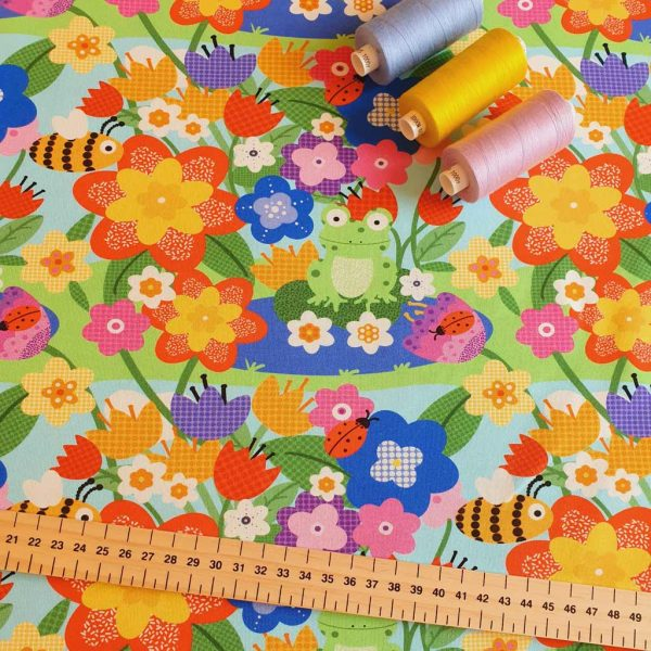 Multi-coloured flowers jersey fabric