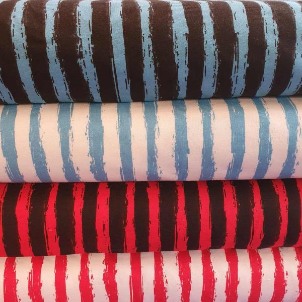 Funky stripes French Terry fabric in blue and black