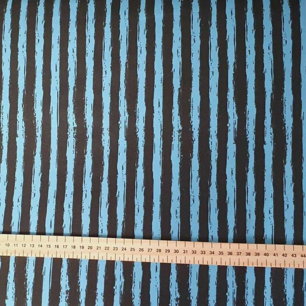 Funky Stripes Blue/Black – French Terry – Loop Back