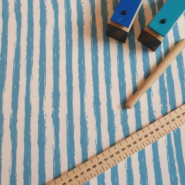 Funky stripes French Terry fabric in blue and white