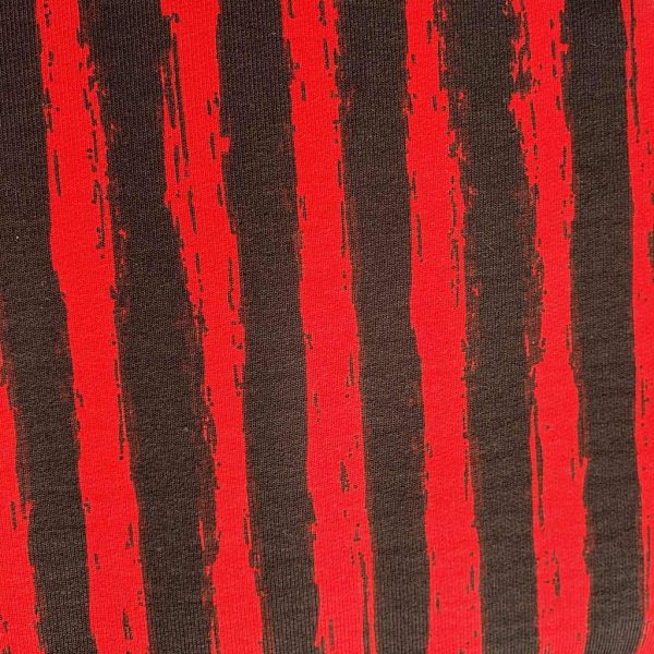 Funky Stripes Red/Black – French Terry – Loop Back