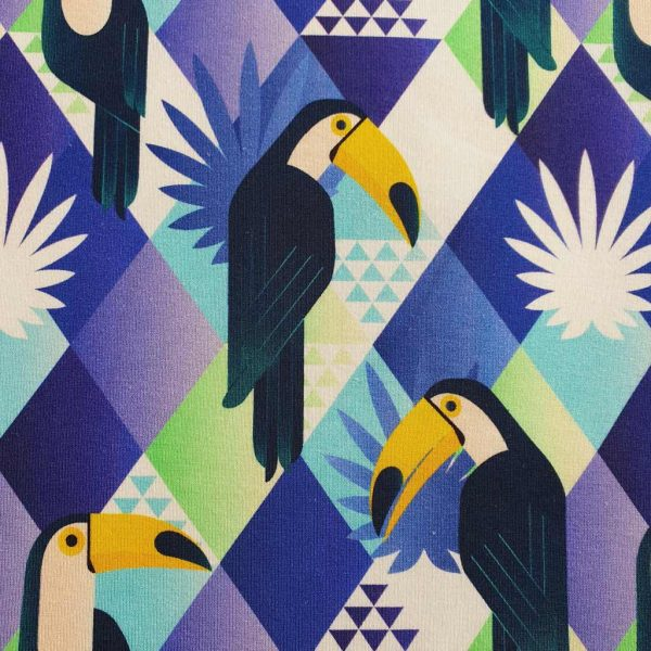 Blue and black toucan fabric