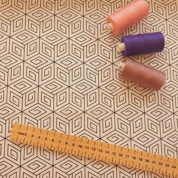 white geometric cubes cotton fabric