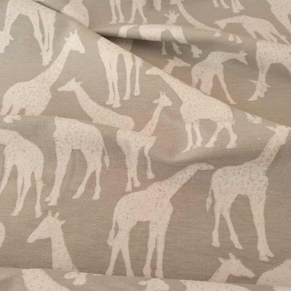 Silver glitter giraffes on grey jersey fabric