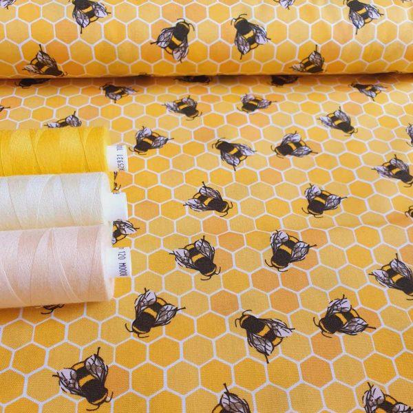 Yellow honey bees cotton fabric