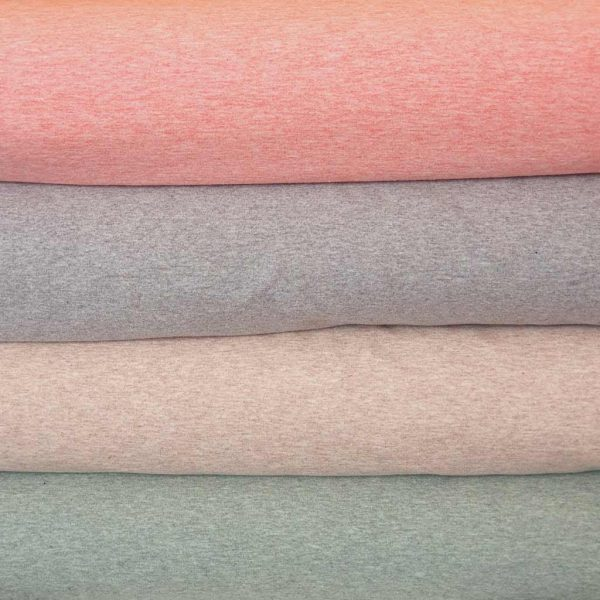 Marl French Terry fabric in sand, green, salmon and grey