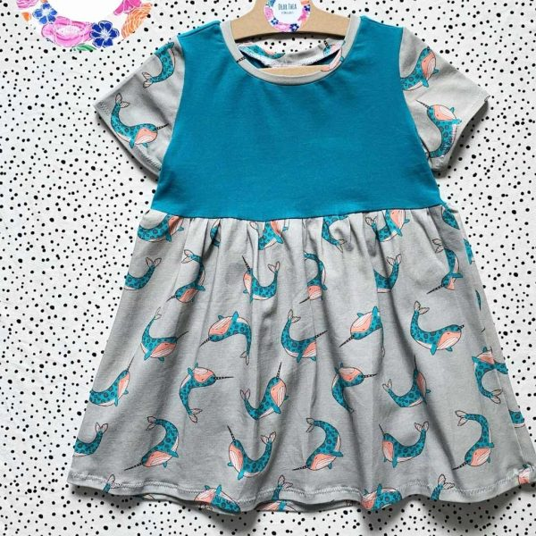 Grey narwhals jersey fabric