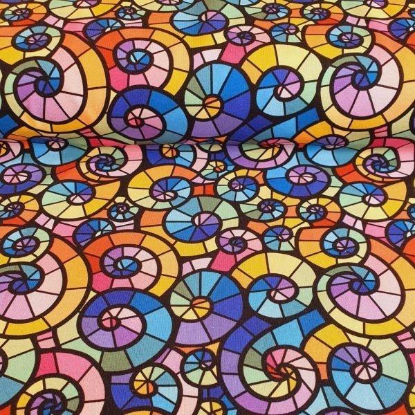 Multi-coloured spirals cotton jersey fabric