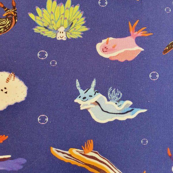 Blue nudibranchs jersey fabric