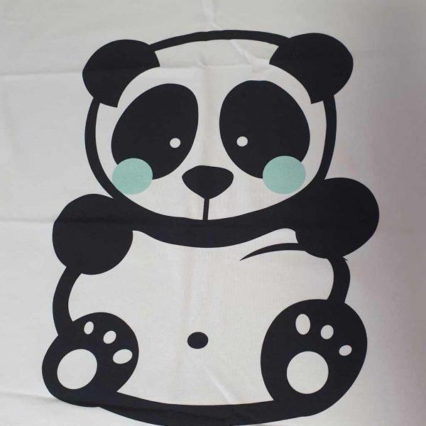 Panda with mint green cheeks on white jersey fabric