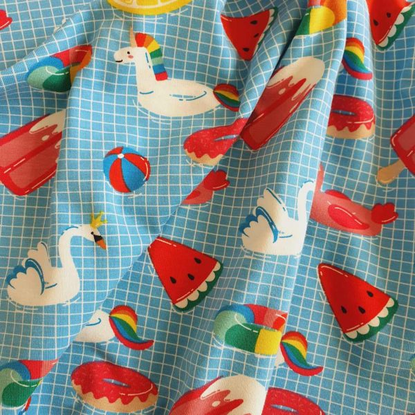Pool party blue jersey fabric