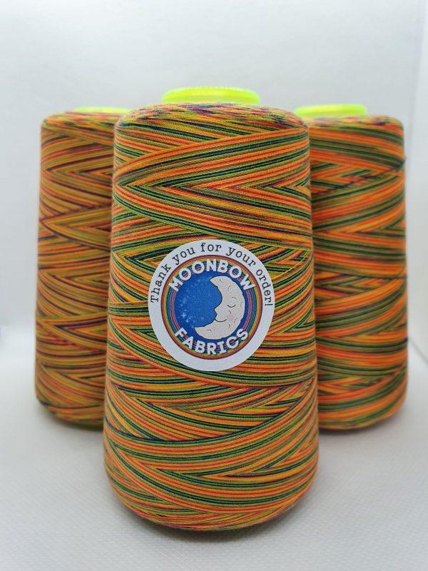 Bright rainbow overlocker thread