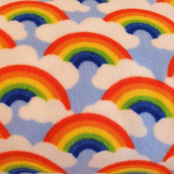 Blue rainbows polar fleece fabric