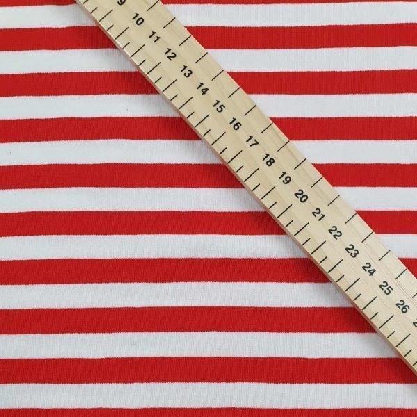 Red and white stripes jersey fabric