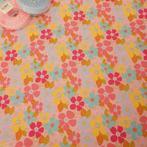 Retro flowers cotton fabric in pink, blue and green