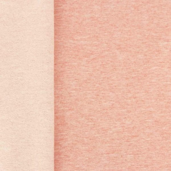 Salmon pink marl French Terry fabric