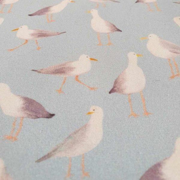 Blue seagulls cotton jersey fabric