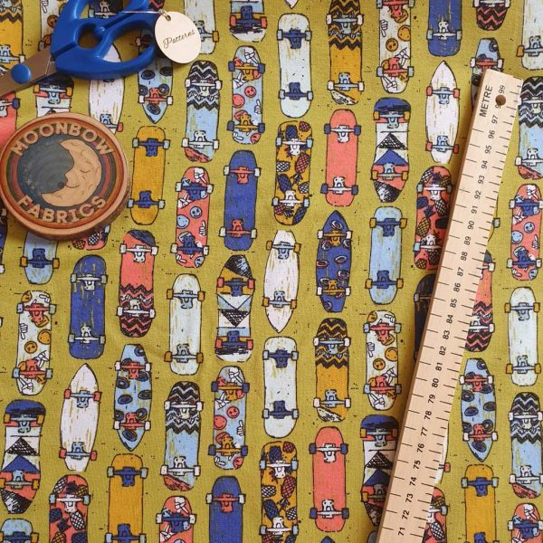 Skateboards on French Terry fabric