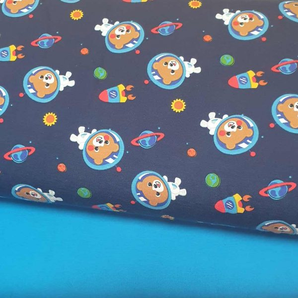 Blue space bears with blue background jersey fabric