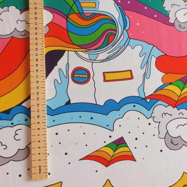 Multi-coloured space organic jersey fabric