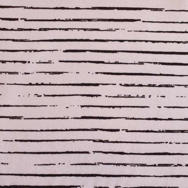 White jersey fabric with black stripes and lines