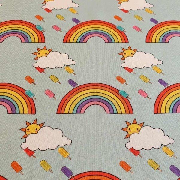 Blue rainbows sky jersey fabric