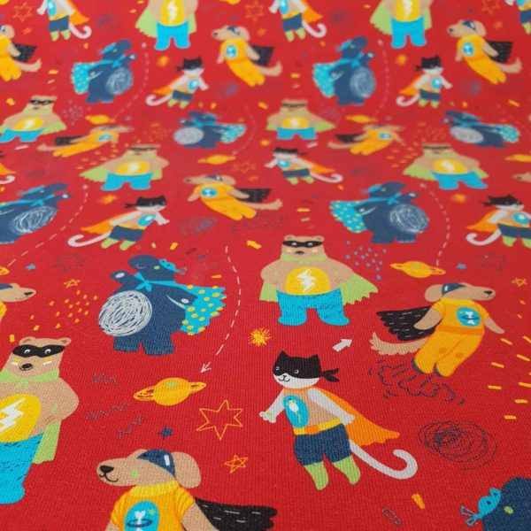 Animal super heroes on red jersey fabric