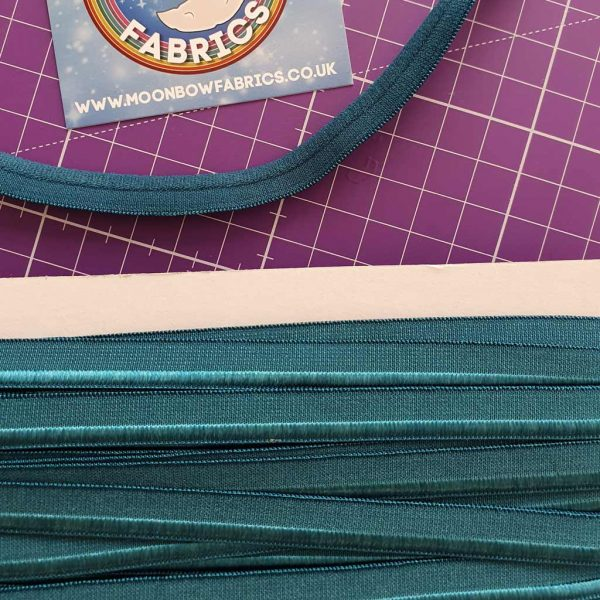 Teal coloured stretch piping trim