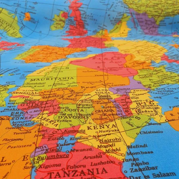 World map cotton fabric in blue, green, pink and purple