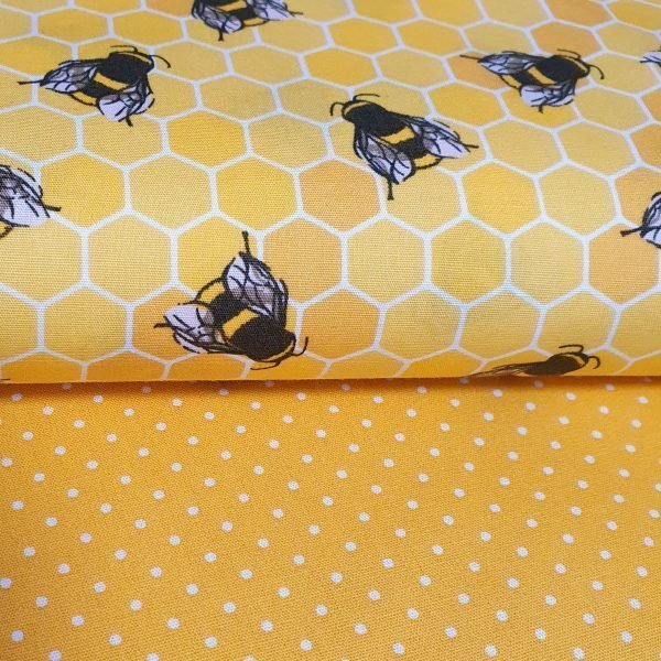 Honey bees cotton fabric in yellow with yellow spots cotton