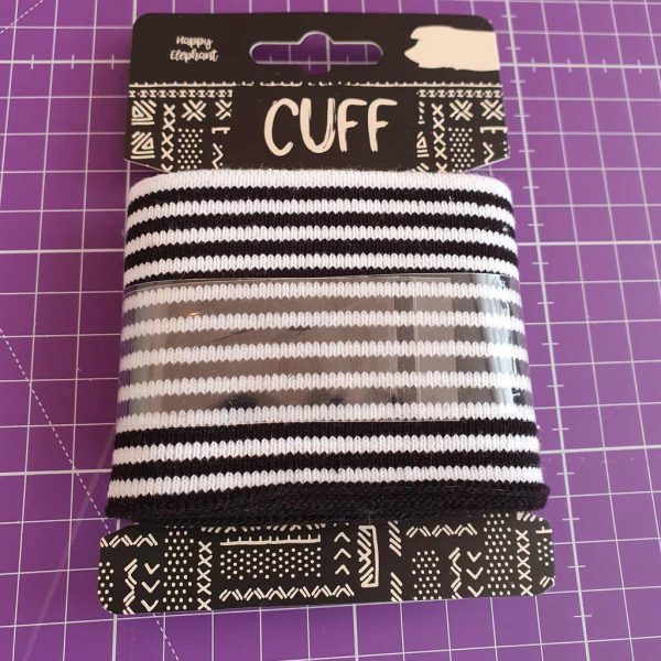 Black and white stripes jersey cuff ribbing