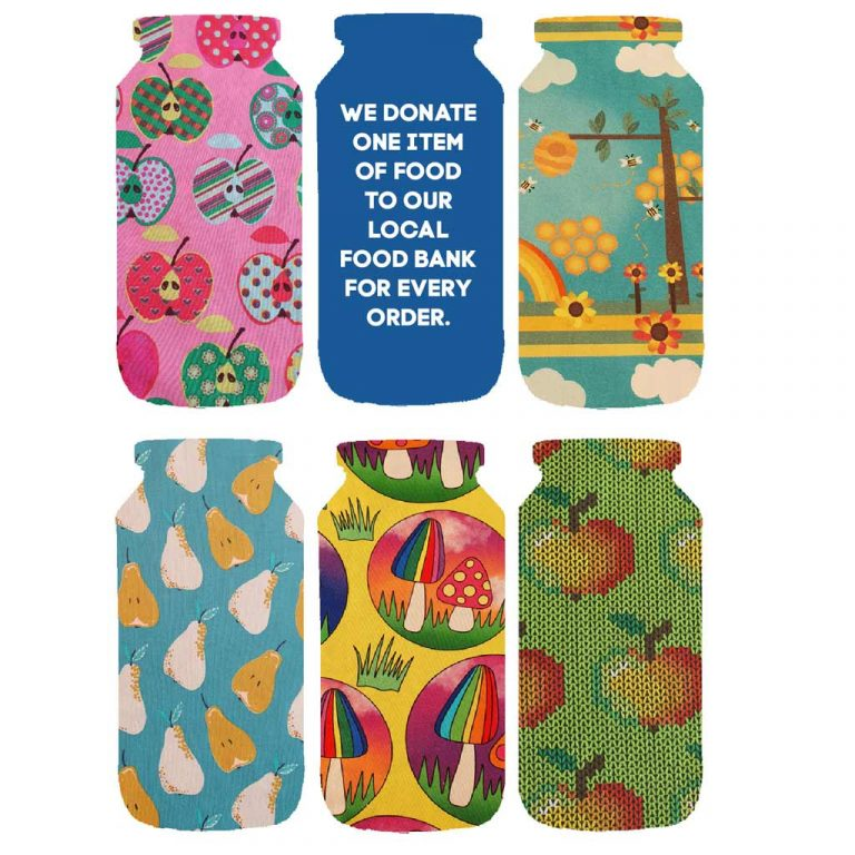 Food jars with fabric prints and text describing food bank donation per order