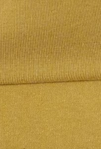 The front and back of a piece of ochre coloured jersey fabric