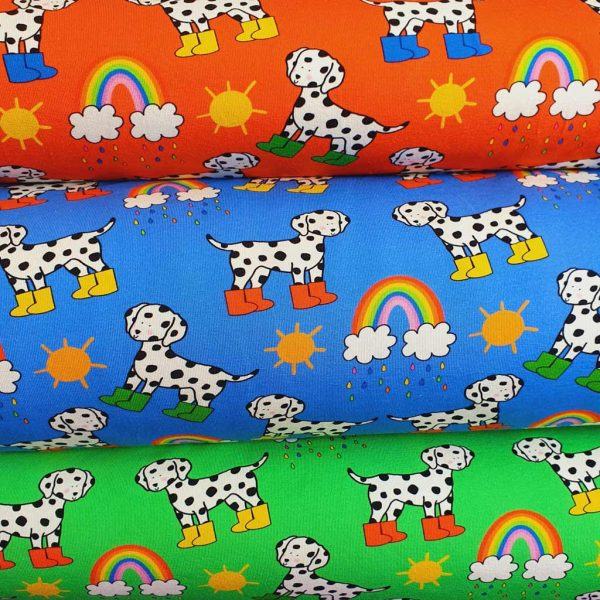 Dalmatians and rainbows on various backgrounds