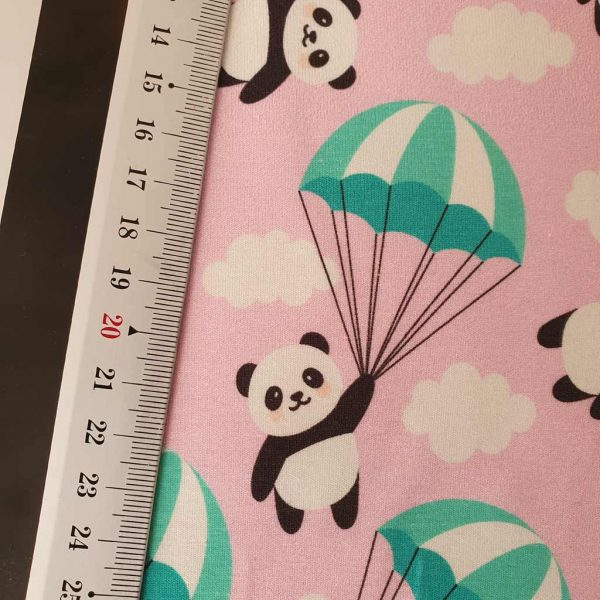 Pink panda fabric with clouds and parachutes
