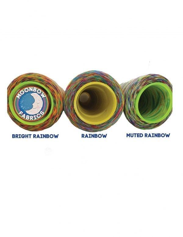 Three rainbow overlocker threads: bright, muted and rainbow